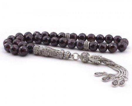 Zirkon Taşı Süslemeli Gümüş İmame ve Püsküllü Fasetalı Kesim Lal Taşı Tesbih - Thumbnail