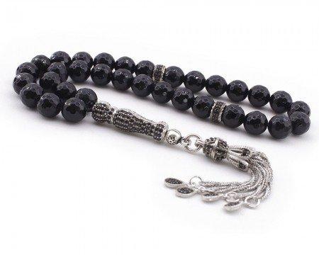 Zirkon Taşı Süslemeli Gümüş İmame ve Püsküllü Fasetalı Kesim Oniks Tesbih - Thumbnail