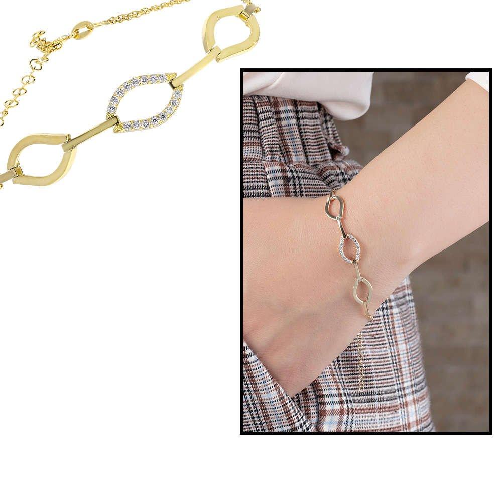 Zirkon Taşlı 3'lü Marina Model Gold Renk 925 Ayar Gümüş Bayan Bileklik