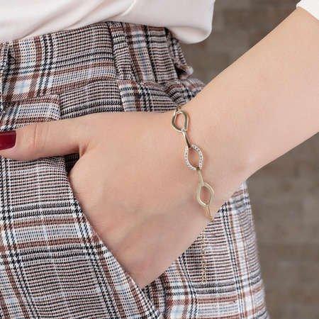 Zirkon Taşlı 3'lü Marina Model Gold Renk 925 Ayar Gümüş Bayan Bileklik - Thumbnail
