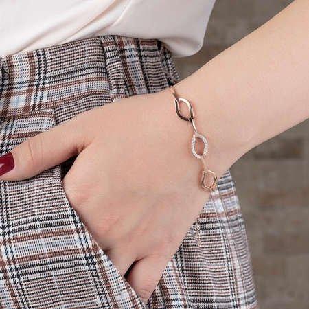 Zirkon Taşlı 3'lü Marina Model Rose Renk 925 Ayar Gümüş Bayan Bileklik - Thumbnail