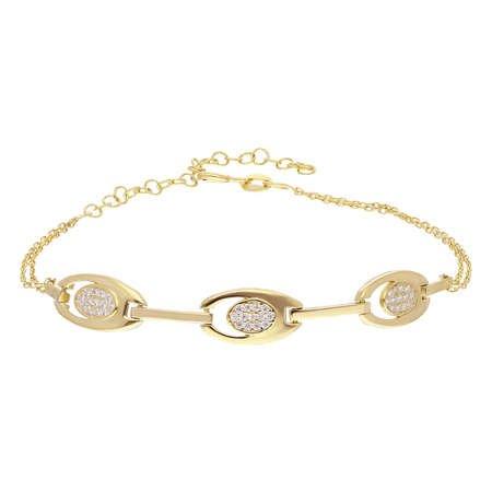 Zirkon Taşlı 3'lü Tiger's Eye Gold Renk 925 Ayar Gümüş Bayan Bileklik - Thumbnail