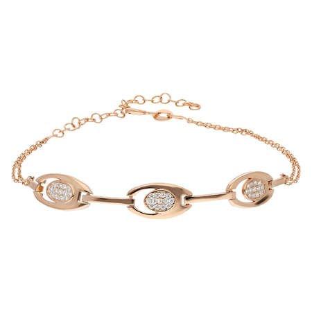 Zirkon Taşlı 3'lü Tiger's Eye Rose Renk 925 Ayar Gümüş Bayan Bileklik - Thumbnail
