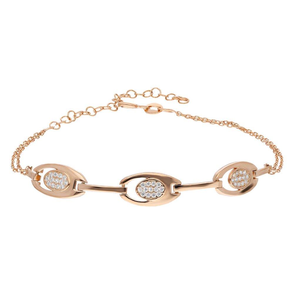 Zirkon Taşlı 3'lü Tiger's Eye Rose Renk 925 Ayar Gümüş Bayan Bileklik