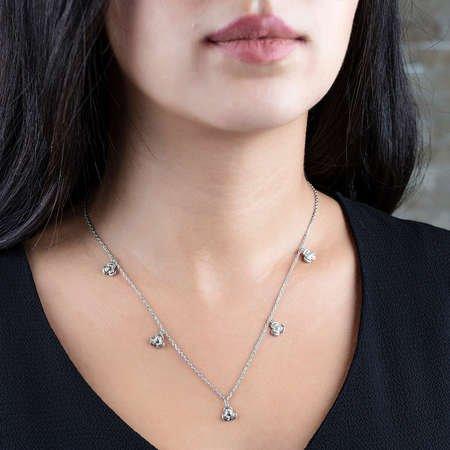 Zirkon Taşlı 5'li Sardunya Yaprağı Tasarım 925 Ayar Gümüş Şans Kolyesi - Thumbnail