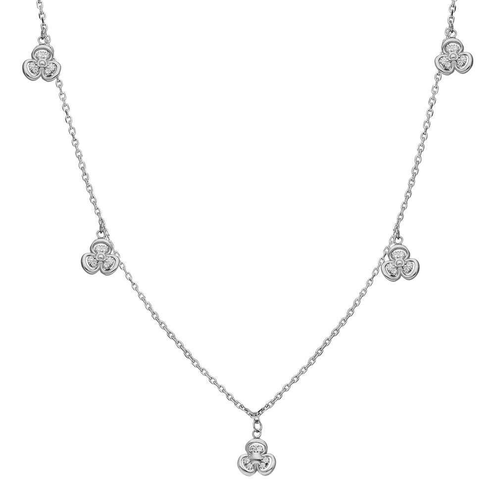 Zirkon Taşlı 5'li Sardunya Yaprağı Tasarım 925 Ayar Gümüş Şans Kolyesi