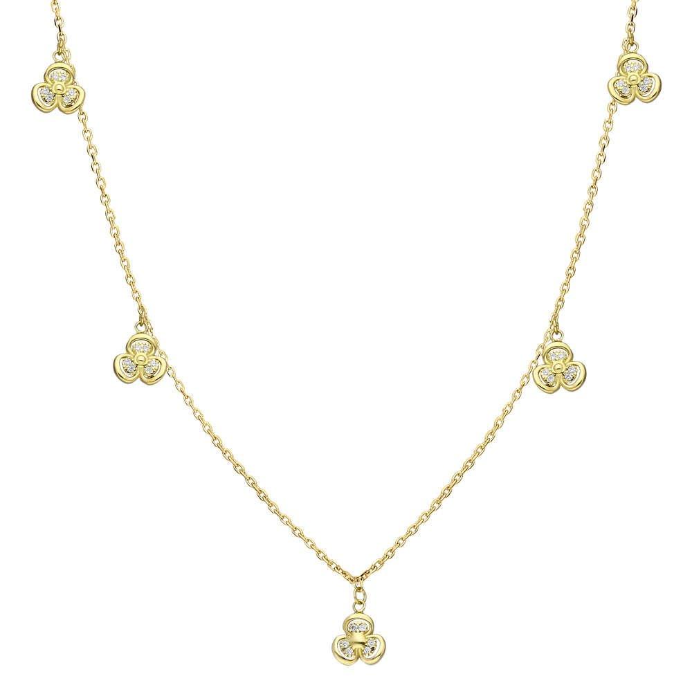 Zirkon Taşlı 5'li Sardunya Yaprağı Tasarım Gold Renk 925 Ayar Gümüş Şans Kolyesi