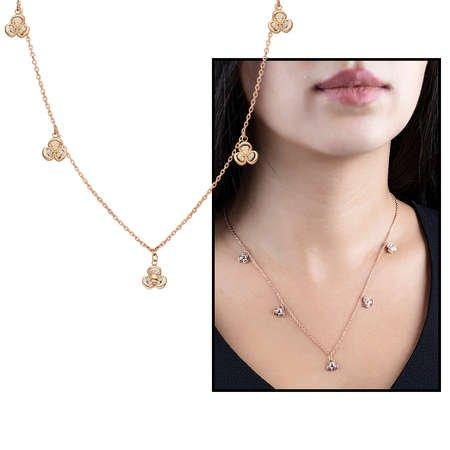 Zirkon Taşlı 5'li Sardunya Yaprağı Tasarım Rose Renk 925 Ayar Gümüş Şans Kolyesi - Thumbnail
