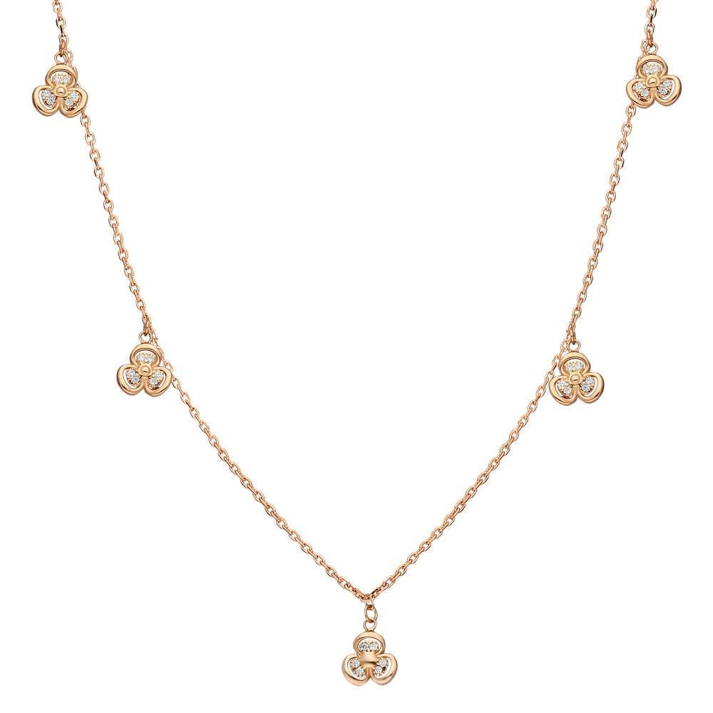 Zirkon Taşlı 5'li Sardunya Yaprağı Tasarım Rose Renk 925 Ayar Gümüş Şans Kolyesi
