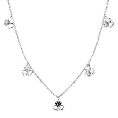 Zirkon Taşlı 5'li Yonca Yaprağı Tasarım 925 Ayar Gümüş Şans Kolyesi - Thumbnail
