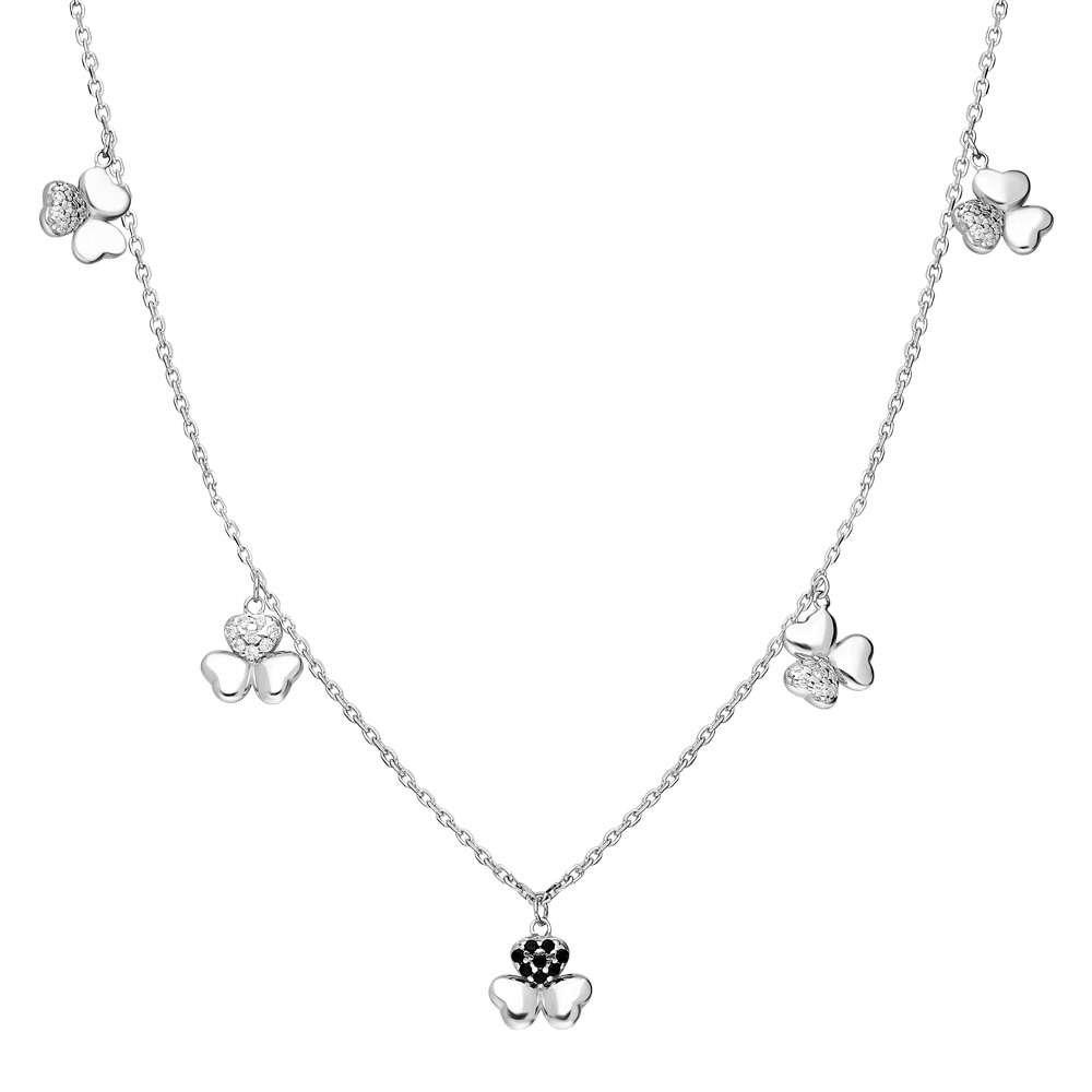 Zirkon Taşlı 5'li Yonca Yaprağı Tasarım 925 Ayar Gümüş Şans Kolyesi