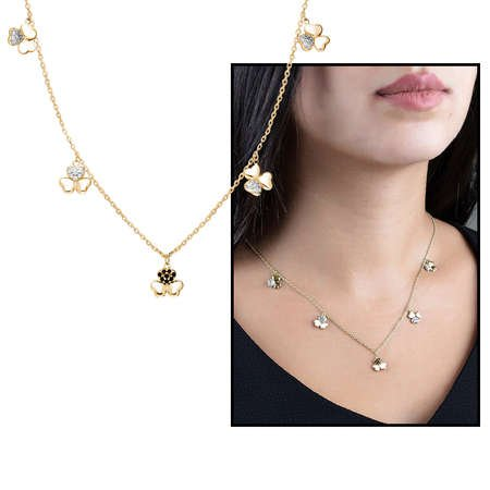 Zirkon Taşlı 5'li Yonca Yaprağı Tasarım Gold Renk 925 Ayar Gümüş Şans Kolyesi - Thumbnail