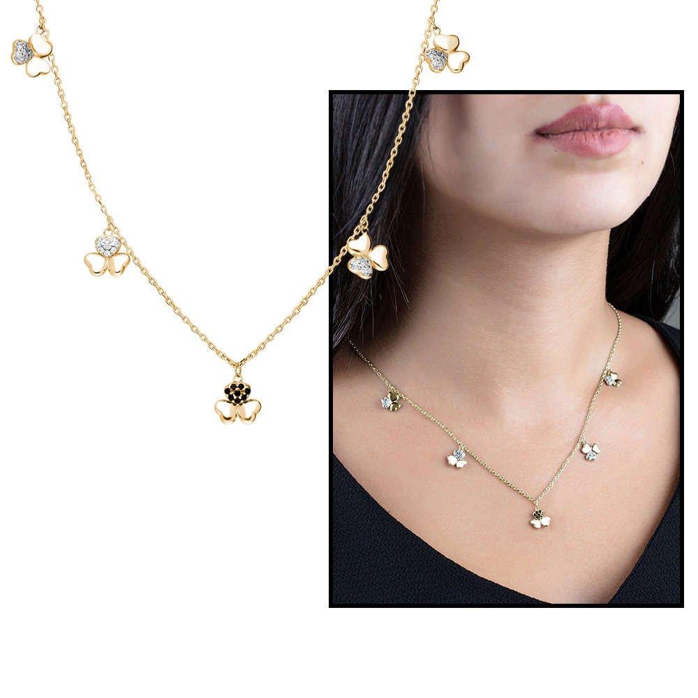 Zirkon Taşlı 5'li Yonca Yaprağı Tasarım Gold Renk 925 Ayar Gümüş Şans Kolyesi