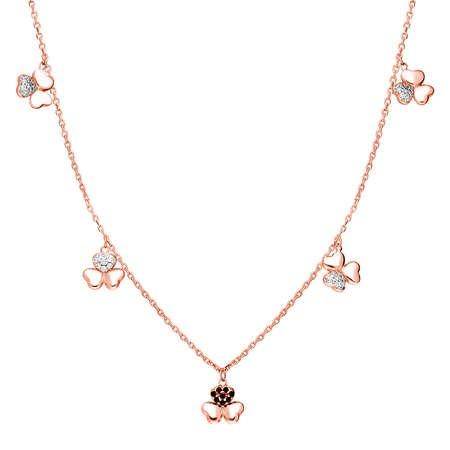 Zirkon Taşlı 5'li Yonca Yaprağı Tasarım Rose Renk 925 Ayar Gümüş Şans Kolyesi - Thumbnail