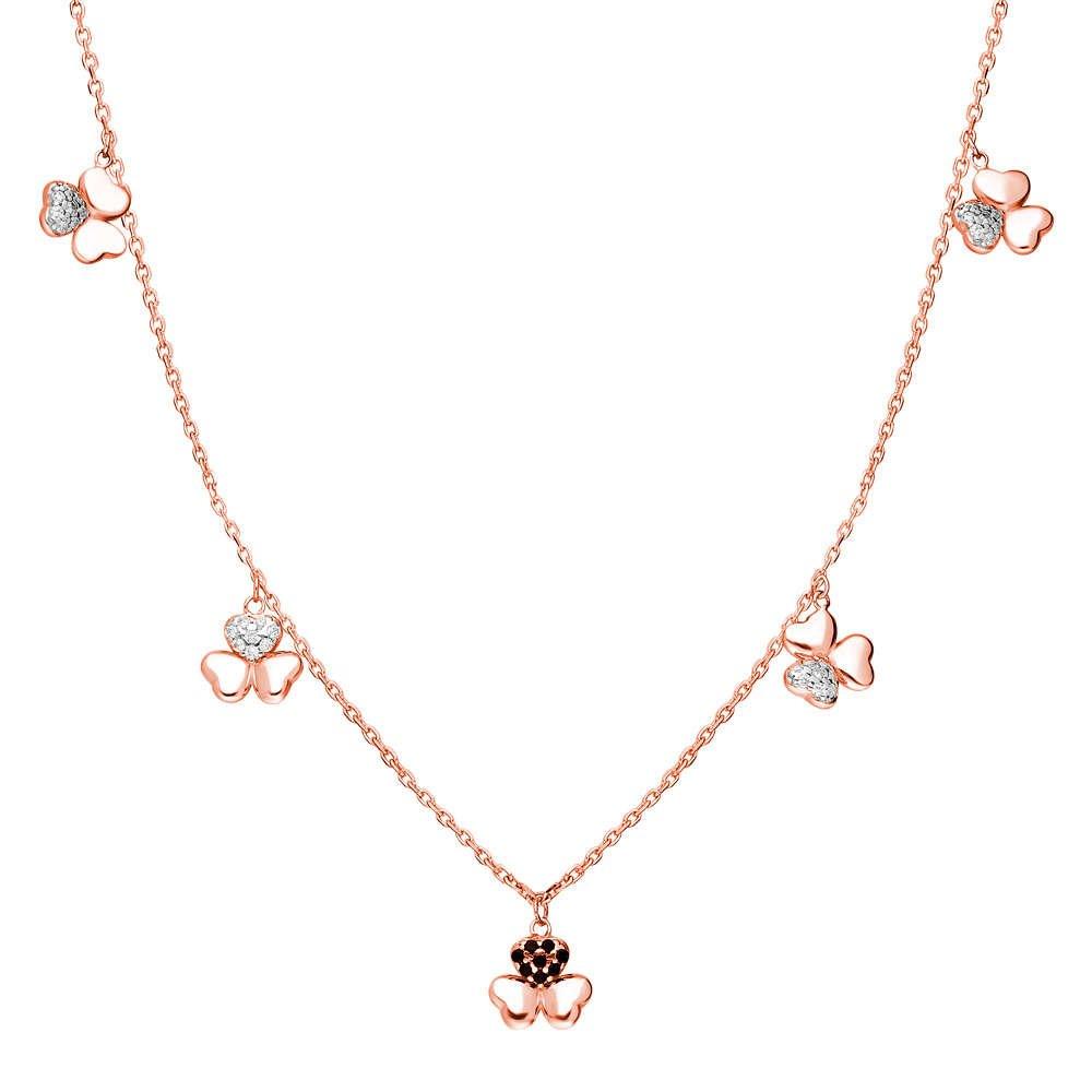 Zirkon Taşlı 5'li Yonca Yaprağı Tasarım Rose Renk 925 Ayar Gümüş Şans Kolyesi