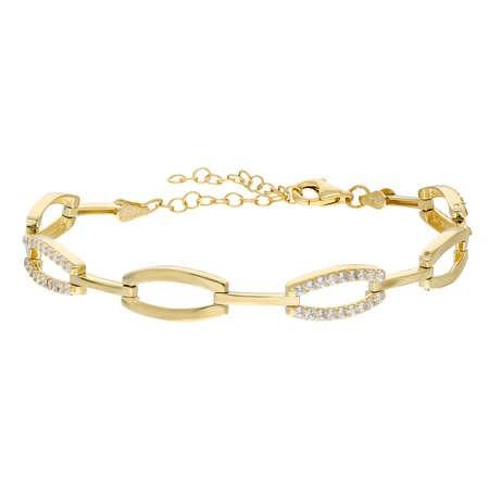 Zirkon Taşlı 6'lı Cat's Eye Gold Renk 925 Ayar Gümüş Bayan Bileklik - Thumbnail