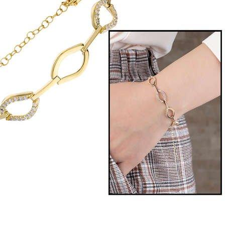Zirkon Taşlı 6'lı Marina Model Gold Renk 925 Ayar Gümüş Bayan Bileklik - Thumbnail