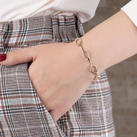Zirkon Taşlı 6'lı Marina Model Rose Renk 925 Ayar Gümüş Bayan Bileklik - Thumbnail