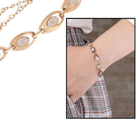 Zirkon Taşlı 6'lı Tiger's Eye Rose Renk 925 Ayar Gümüş Bayan Bileklik - Thumbnail
