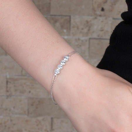 Zirkon Taşlı 925 Ayar Gümüş Bayan Dörttaş Bileklik - Thumbnail