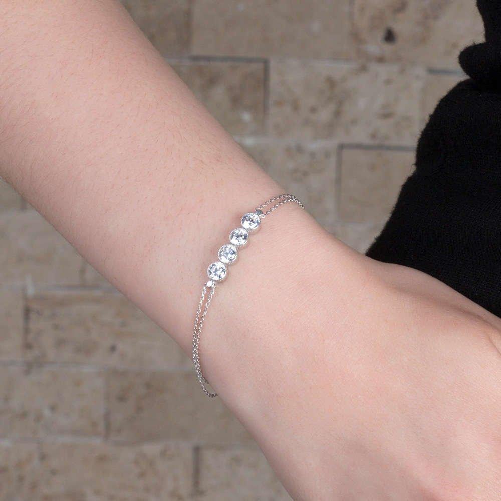 Zirkon Taşlı 925 Ayar Gümüş Bayan Dörttaş Bileklik