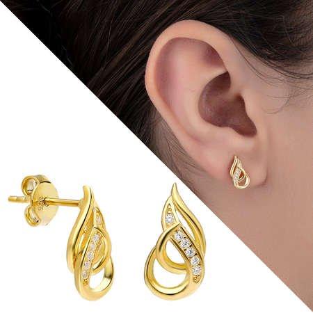 Zirkon Taşlı Alev Tasarım Gold Renk 925 Ayar Gümüş Küpe - Thumbnail