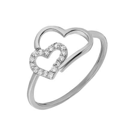 Zirkon Taşlı Asimetrik Kalp Tasarım 925 Ayar Gümüş Bayan Yüzük - Thumbnail