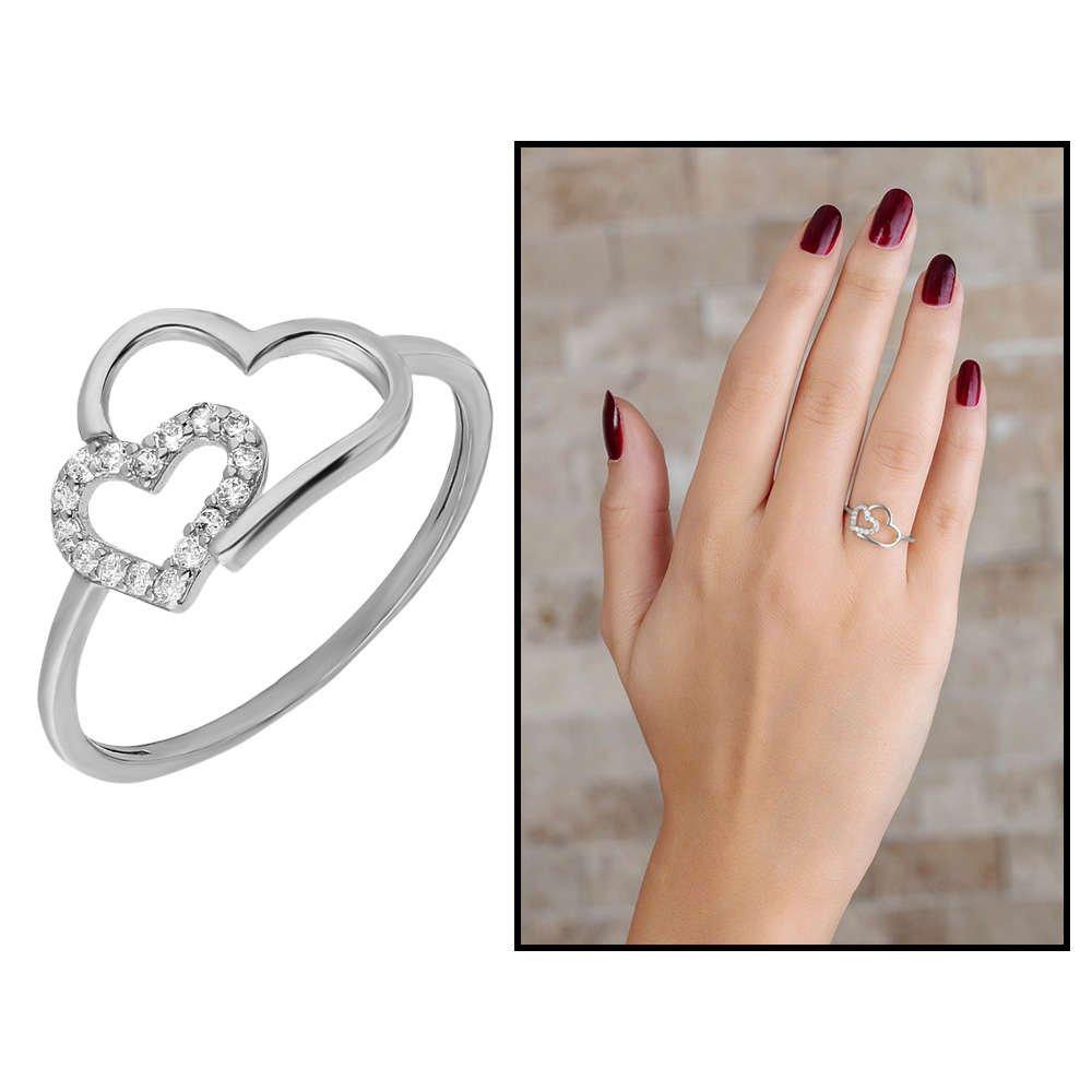 Zirkon Taşlı Asimetrik Kalp Tasarım 925 Ayar Gümüş Bayan Yüzük