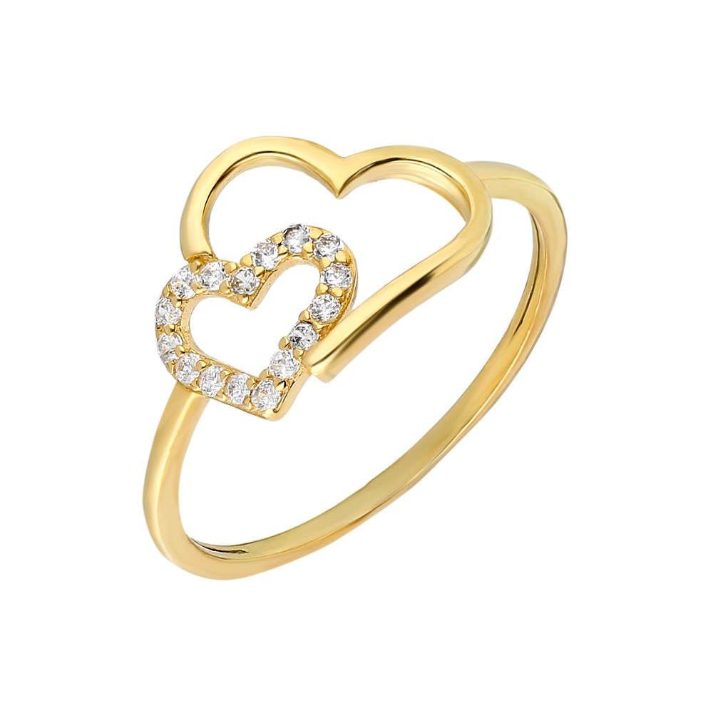 Zirkon Taşlı Asimetrik Kalp Tasarım Gold Renk 925 Ayar Gümüş Bayan Yüzük