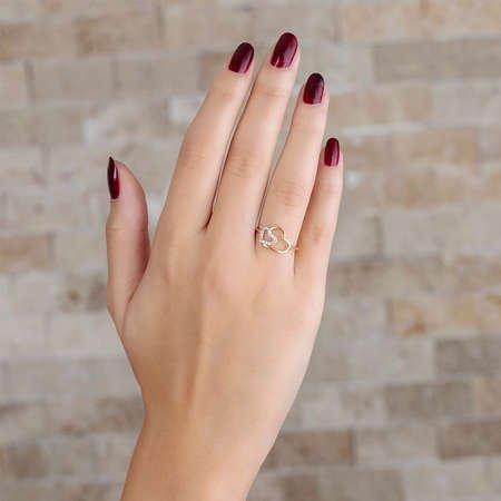 Zirkon Taşlı Asimetrik Kalp Tasarım Gold Renk 925 Ayar Gümüş Bayan Yüzük - Thumbnail