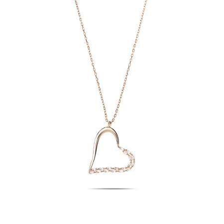 Zirkon Taşlı Asimetrik Kalp Tasarım Rose Renk 925 Ayar Gümüş Kolye - Thumbnail
