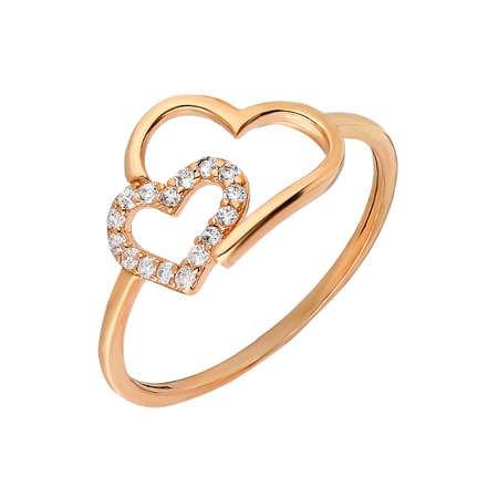 Zirkon Taşlı Asimetrik Kalp Tasarım Rose Renk 925 Ayar Gümüş Bayan Yüzük - Thumbnail