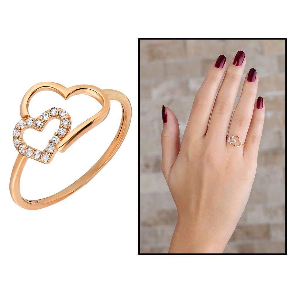Zirkon Taşlı Asimetrik Kalp Tasarım Rose Renk 925 Ayar Gümüş Bayan Yüzük