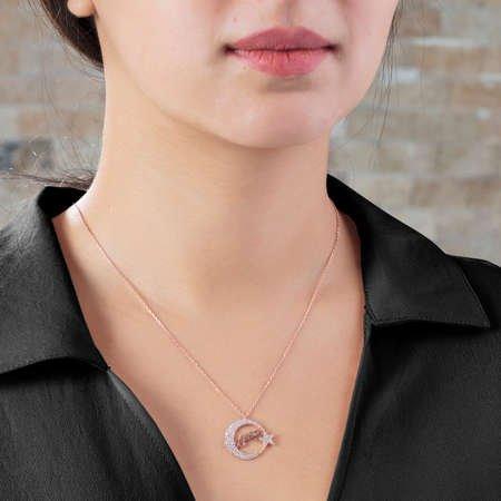 Zirkon Taşlı Ayyıldız Tasarım Atatürk İmzalı 925 Ayar Gümüş Kolye - Thumbnail