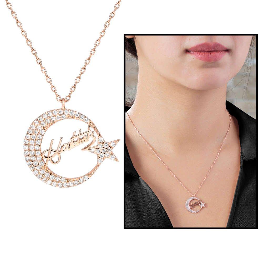 Zirkon Taşlı Ayyıldız Tasarım Atatürk İmzalı 925 Ayar Gümüş Kolye