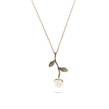 Sedef Taşlı Beyaz Gül Tasarım 925 Ayar Gümüş Bayan Kolye - Thumbnail