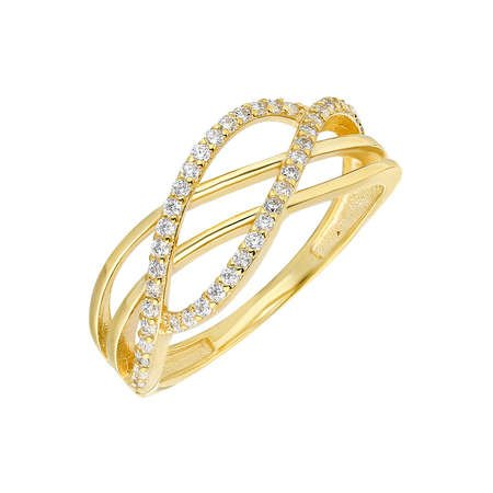 Zirkon Taşlı Cat's Eye Gold Renk 925 Ayar Gümüş Bayan Yüzük - Thumbnail
