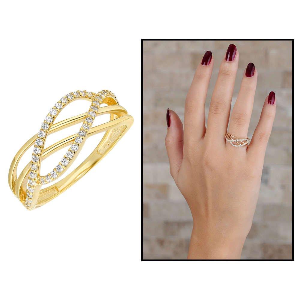 Zirkon Taşlı Cat's Eye Gold Renk 925 Ayar Gümüş Bayan Yüzük