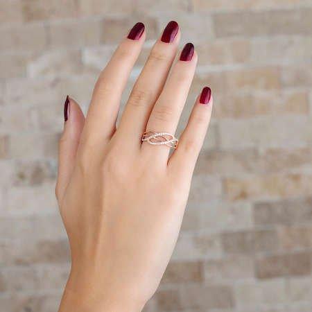 Zirkon Taşlı Cat's Eye Rose Renk 925 Ayar Gümüş Bayan Yüzük - Thumbnail
