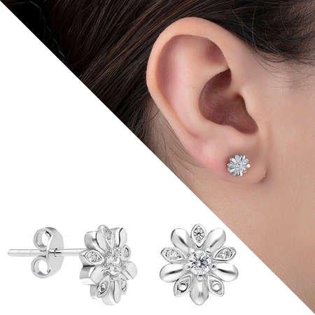 Zirkon Taşlı Çiçek Tasarım 925 Ayar Gümüş Küpe - Thumbnail