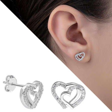 Zirkon Taşlı Çift Kalp Tasarım 925 Ayar Gümüş Küpe - Thumbnail