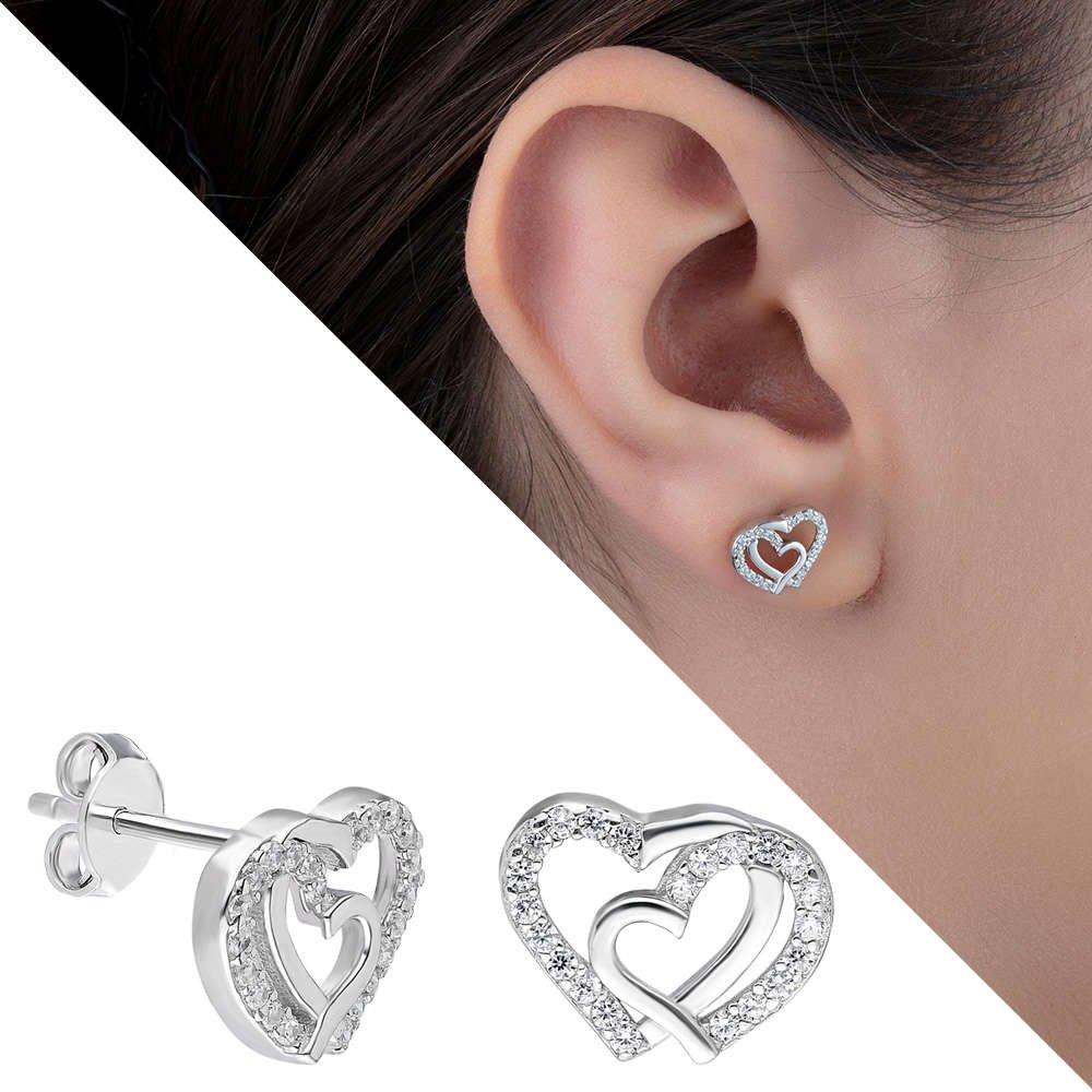 Zirkon Taşlı Çift Kalp Tasarım 925 Ayar Gümüş Küpe