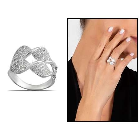 Zirkon Taşlı Çift Sıra Yaprak Tasarım 925 Ayar Gümüş Kadın Yüzük - Thumbnail