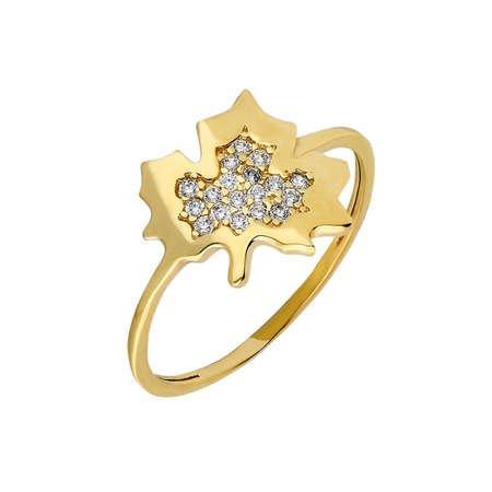 Zirkon Taşlı Çınar Yaprağı Tasarım Gold Renk 925 Ayar Gümüş Bayan Yüzük - Thumbnail