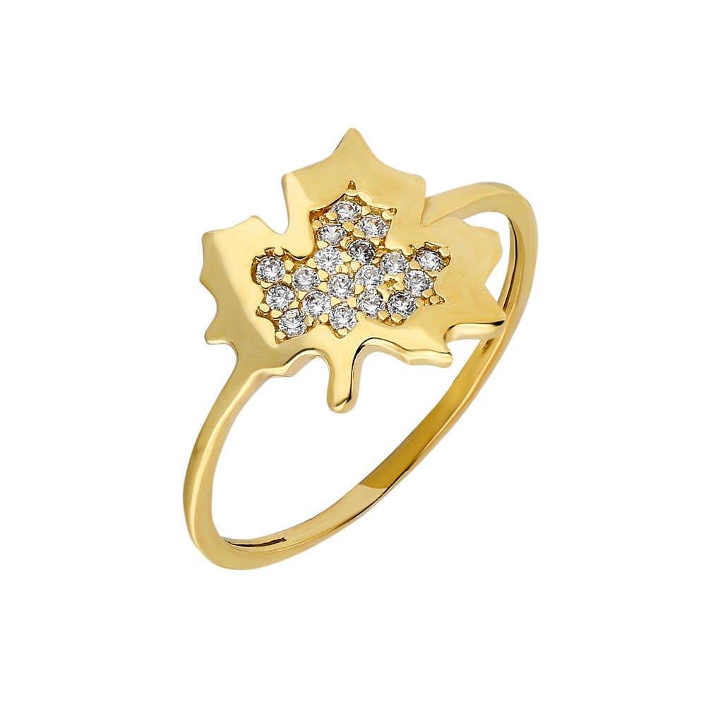 Zirkon Taşlı Çınar Yaprağı Tasarım Gold Renk 925 Ayar Gümüş Bayan Yüzük