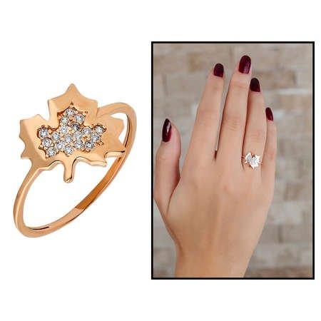 Zirkon Taşlı Çınar Yaprağı Tasarım Rose Renk 925 Ayar Gümüş Bayan Yüzük - Thumbnail