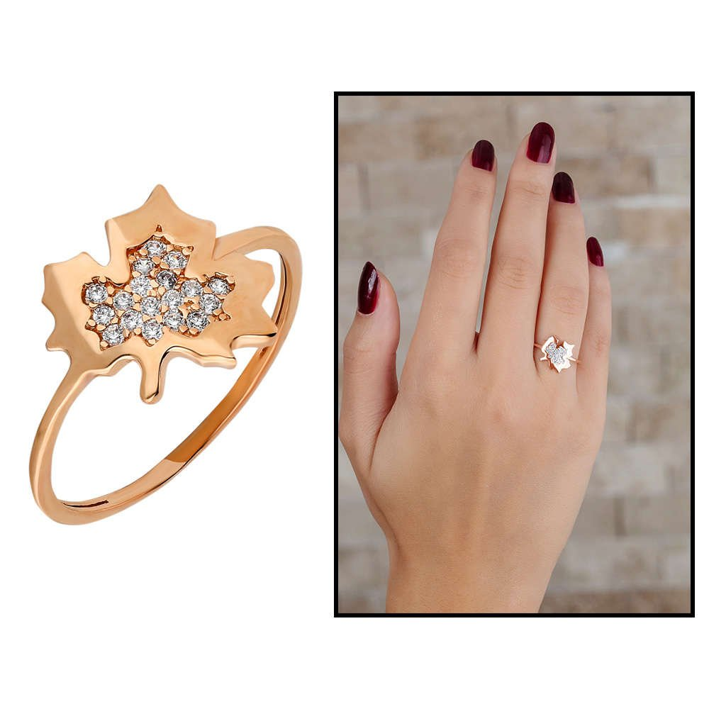 Zirkon Taşlı Çınar Yaprağı Tasarım Rose Renk 925 Ayar Gümüş Bayan Yüzük