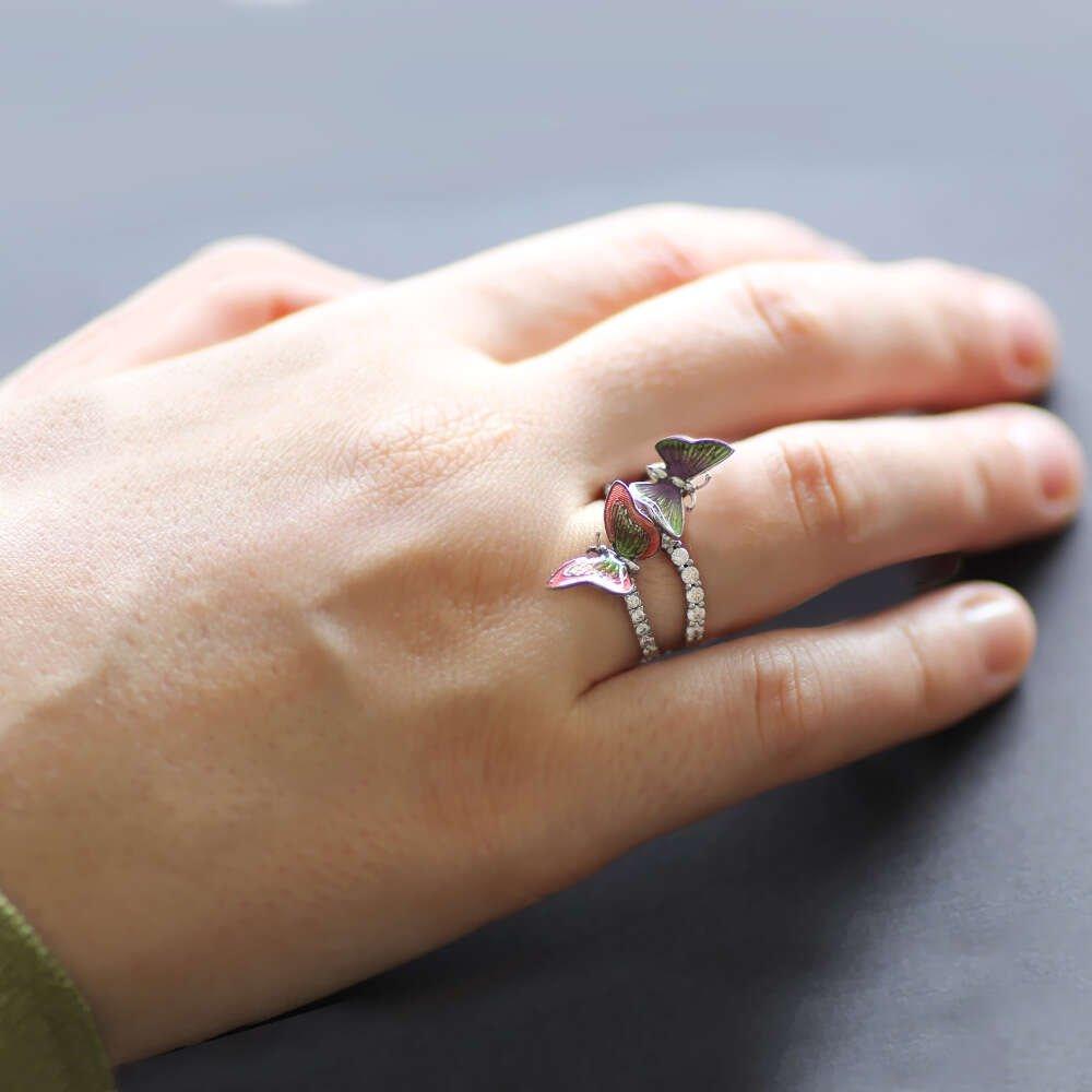 Zirkon Taşlı Çok Renkli Kelebek Tasarım 925 Ayar Gümüş Bayan Yüzük