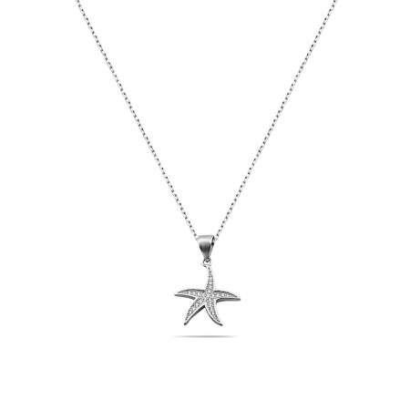 Zirkon Taşlı Deniz Yıldızı Tasarım 925 Ayar Gümüş Kadın Kolye - Thumbnail