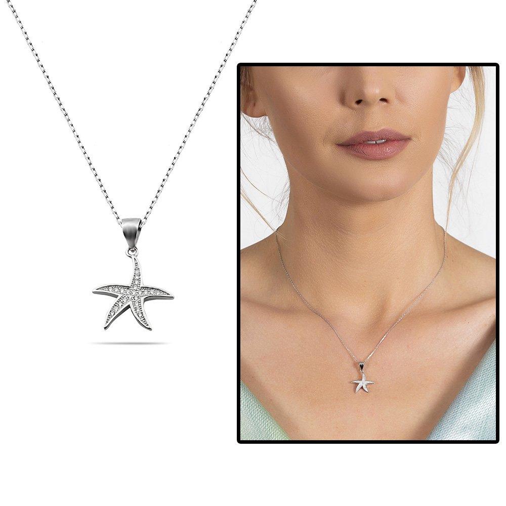 Zirkon Taşlı Deniz Yıldızı Tasarım 925 Ayar Gümüş Kadın Kolye